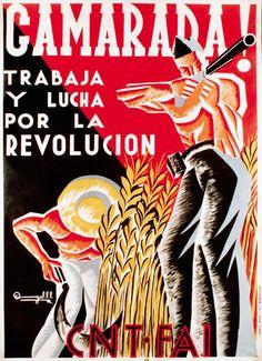 A. Entelado, affiche pour la CNT / FAI, 1937, litographie, 107x76cm