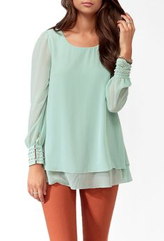 Tiered Button Cuff Blouse | FOREVER21 - 2019571522