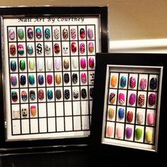 Framed nail art designs for nail salons Frames- cool uses! Acrylic Nail Art, Nail Art Diy, Home Nail Salon, Nail Station, Diamond Nail Art, Nail Room, Beauty Salon Decor, Nail Spa, Nail Nail