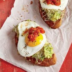 Fried Egg and Avocado Toasts | MyRecipes.com #myplate #protein #veggies #fruit #wholegrain