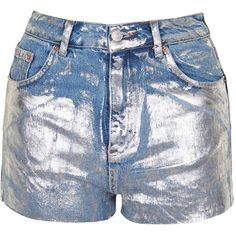 TopShop Tall Metallic Paint Mom Shorts ($13) ❤ liked on Polyvore featuring shorts, short jean shorts, high waisted metallic shorts, cotton shorts, high waisted shorts and high-waisted denim shorts