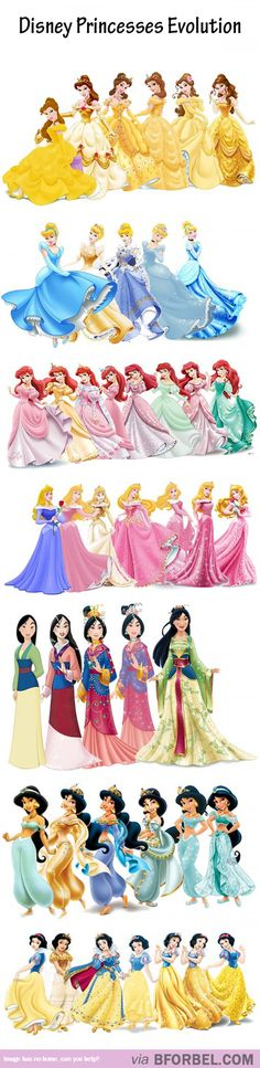Evolution Of 7 Disney Princesses… So Gorgeous!<<<Mulan take that trash off and out on your badass kick butt dress