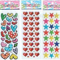 3pcs/lot Heart Stars Cartoon Stickers for Boys and Girls Babys Cute sets Decorative Beautiful Foam Stickers intelligence #ST019