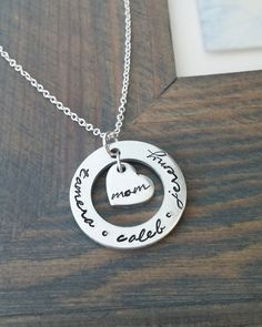 Hand Stamped Jewelry // Personalized Necklace // Necklace with Kids Names // Mommy Necklace // Anniversary Gift // Gift for Mom