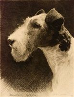 "THE PROFILE : Etching titled ""Earlsmoor Taffena"" by Morgan Dennis (Amercian Illustrator 1892 - 1960)"