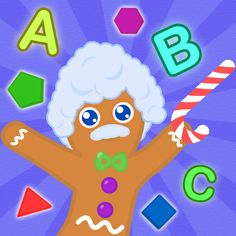 his preschool app looks like it is taught by the gingerbread man from the movie Shrek with Einstein hair and accent (cute). Using a puzzle format, works on matching various items: letters, numbers, colors, shapes, fruits, animals and counting. For Occupational Therapists, use this for working on fine motor precision (drag), visual closure and visual discrimination.