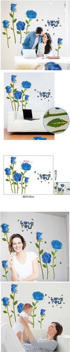 1pcs Blue Flower LOVE DIY Removable Wall Stickers Kids Bedroom Home Decor House Decoration Wall Stickers Decor CF