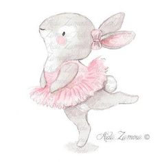 "Nursery Art ""BUNNY BALLERINA"" Art Print for girls, Pink Illustration, Nursery ballerina art, Ballerinas print, Baby girl wall art Cute Drawings, Animal Drawings, Cute Images, Cute Pictures, Baby Pictures, Bunny Love, Baby Animals, Cute Animals, Image Deco"