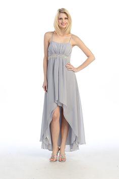 chiffon+white+high+low+dress | ... HIGH-LOW SILKY CHIFFON EMPIRE-WAIST DRESS FOR BRIDESMAID, PROM