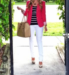 Pink Blazer + White Skinnies + Nude Accessories + Monogram Necklace #blogger
