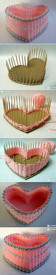 Custom shape basket! Cardboard, skewers, yarn and embellishments.