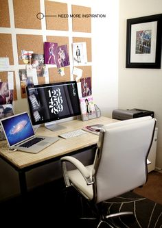inspiration boards, clean office with 2 monitors + pretty office chair. Office Plan, Home Office, Office Ideas, Creative Office Space, Office Spaces, Guest Room Office, Inspiration Boards, Other Rooms, Cork Boards