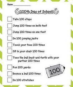 100th day of school kindergarten   100th Day of School Gross Motor Preschool Lesson Plan