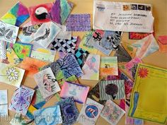Envelope of trading cards sent from a school