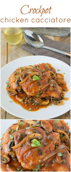 Crockpot chicken cacciatore is the perfect one pot meal that cooks itself while you're away and you get to come home to the delicious aromas from a comforting, slow cooked meal. #crockpot #slowcooker #chickencacciatore