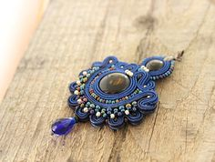 Blue beaded pendant blue embroidered pendant hand by pUkke on Etsy