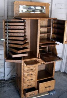 I could SO use the cubbies! This is an oak dental cabinet Found on antiques.com