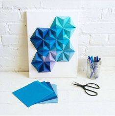 Origami Wall Art - Origami Wall Art Origami Wall Art Diy Artwork Paper Diy Paper Wall Art With Origami Pyramid Pixels Easy Tutorial And Origami Wall Art Triangle Pixe. Origami Modular, Origami 3d, Origami Videos, Origami Design, Origami Art Mural, Origami Paper Art, Paper Crafts, Vinyl Crafts, Paper Wall Art
