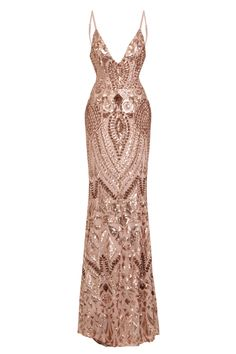 68bb2fde NAZZ COLLECTION SPOTLIGHT ROSE GOLD VIP LUXE SEQUIN BACKLESS MERMAID  FISHTAIL DRESS - Nazz Collection