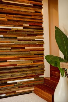 Multi-colored wood wall
