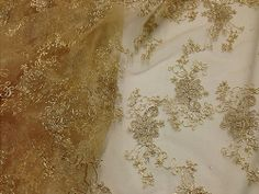 "GOLD MESH W/METALLIC COREDED FLORAL EMBROIDERY BRIDAL LACE FABRIC 48"" WIDE 1 YD"