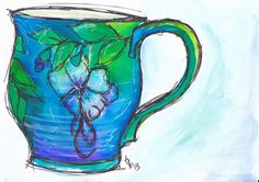 Cup # 30 from Jean Zoss at http://bluebirdslivinginthemeadow.wordpress.com/ ... acrylic and watercolours with micron pen..http://traceyfletcherking.blogspot.com.au/.