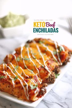 6 EnchiladasThese Delicious Gluten Free & Keto Beef Enchiladas are High in Healthy Fats and Low in Carbs. They make a Perfect Make Ahead Meal that can Quickly be Reheated in only a Few Minutes. Healthy Low Carb Recipes, Ketogenic Recipes, Low Carb Keto, Ketogenic Diet, Healthy Fats, Low Carb Enchiladas, Beef Enchiladas, Cheese Enchiladas, Mexican Food Recipes