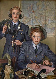 El cabo Elspeth Henderson y el sargento Helen Turner. Laura Knight, 1941. Museo de la Guerra Imperial, London. Reino Unido.