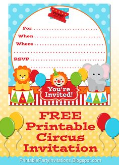 #FREE Printable Circus Party Invitation
