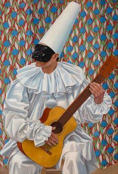 Pierrot with guitar, Gino Severini 1923 oil on canvas, 130 x 89 cm