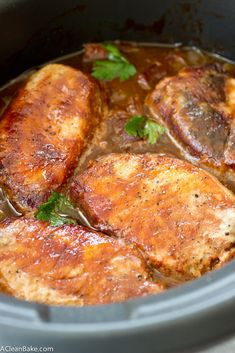 Crockpot Barbecue Pork Chops With Apples And Onions #justeatrealfood #acleanbake