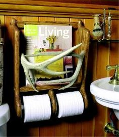 Oak and Antler Toilet Tissue Holder - this would be great in the outhouse...