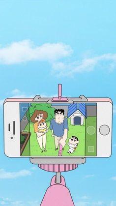 Selfie wit my fam😌 Sinchan Wallpaper, Funny Phone Wallpaper, Cute Anime Wallpaper, Cute Cartoon Wallpapers, Disney Wallpaper, Wallpaper Quotes, Sinchan Cartoon, Cartoon Heart, Cartoon Girl Drawing