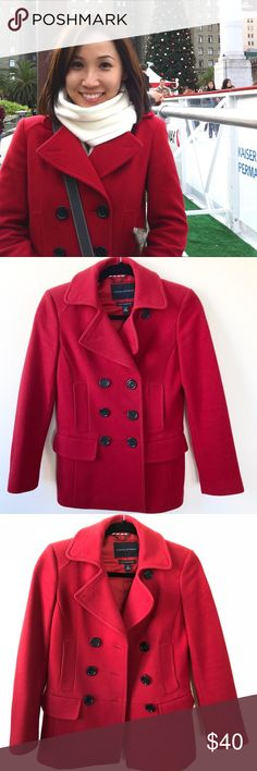 94b22c73f7d Banana Republic Petite XS double breasted pea coat A pretty red coat that s  perfect for winter