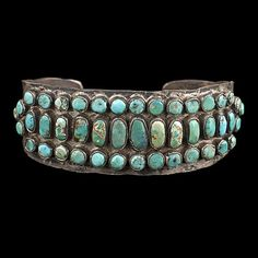 An early piece of Native American jewelry - Ingot turquoise & silver cuff bracelet, ca 1920s