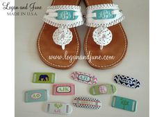 Logan and June Sandals #preppy #monogrammed www.loganandjune.com - $149 Interchange our Slide Tags on your Logan and June Sandals by simply sliding one set off and another on. Change your Slide Tags to fit any outfit, occasion, or inspiration! It couldn't be more simple! Price includes 2 sets of Logan and June Slide Tags.