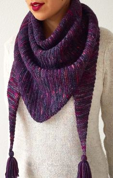 Free Knitting Pattern for Sorceress Scarf - Stylish triangular scarf or shawlette knit from corner to corner in rows of Herringbone Stitch. Designed by Life Is Cozy. Worsted weight.