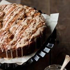 Pumpkin coffee cake with brown-sugar streusel and vanilla glaze.