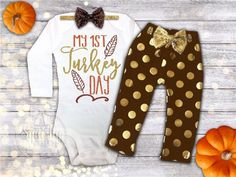 1st Thanksgiving Outfit My 1st Turkey Day PERFECT for any Little Girls 1st Thanksgiving!  PRE:ORDER: This outfit is currently on a 4-6 week production time.  CHOOSE YOUR OUTFIT OPTIONS FROM THE DROP DOWN: TOP: Adorned with a sparkly, adorable graphic, our glitter print is high quality, doesnt shed and is machine washable. Choose the top as a Bodysuit or Shirt, short sleeve or long sleeve. Leggings: These adorable polka dot leggings are a must have for any little girls closet!!! Made from a…