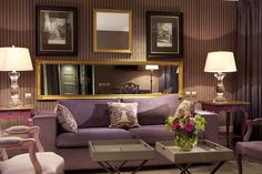 Hotels & Resort, Adorable Parisian Interior Design In Living Room With Amazing Colorful Decor Design Consists Of Modern Sofa Side Table White Lamp Shade Big Mirror Strip: Parisian Interiors Design in Hotel with Special Room Decorations Luxury Interior Design, Interior Design Living Room, Living Room Designs, Design Bedroom, Interior Architecture, Boudoir, Room Wall Painting, White Lamp Shade, Sofa Side Table