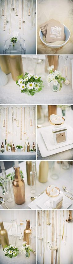 love the painted wine bottles used as candle holders