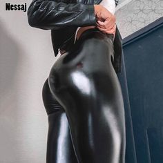 Black Summer Faux Leather Pants Women High Waist Skinny Push Up Leggings Sexy Elastic Stretch Plus Size Jeggings Skinny Leather Pants, Faux Leather Leggings, Black Faux Leather, Skinny Pants, Pu Leather, Leather Trousers, Natural Leather, Vegan Leather, Patent Leather
