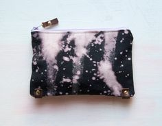 B L E A C H Black Hand Dyed Clutch. Make Up Bag. Bleach Black. $58.00, via Etsy.