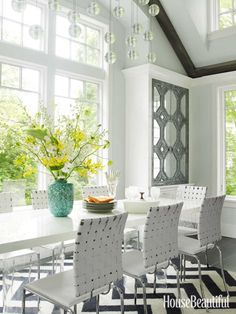 Jonathan Adler Chevron Rug in a White Breakfast Area / Louise Brooks in a white kitchen