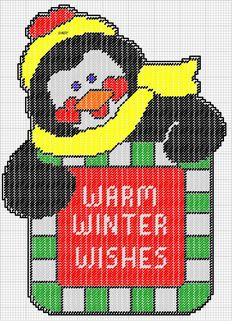 WARM WISHES PENGUIN by DAISY*STITCHEMS 1/2