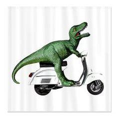 T-rex Vintage Scooter Shower Curtains - Tyrannosaurus rex Best Dinosaur Ever! scooterbaby.com