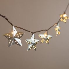 Galvanized Metal Stars String Lights from Cost Plus World Market. Saved to Outdoor Shop. String Lanterns, Star String Lights, Ramadan Crafts, Ramadan Decorations, Corrugated Metal, Galvanized Metal, Floor To Ceiling Bookshelves, Patio Lighting, String Lighting