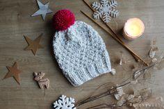 knitted beanie  moss stitch