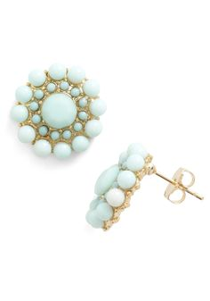 Mint Rendition Earrings - Green, Gold, Solid, Beads, Wedding