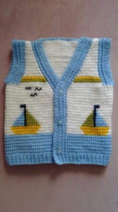 Yelek modeli Baby Knitting Patterns, Crochet Stitches Free, Crochet Quilt, Tapestry Crochet, Crochet Motif, Crochet Baby, Crochet Patterns, Diy Crafts Knitting, Diy Crafts Crochet
